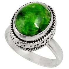 Clearance Sale- 5.08cts natural green chrome diopside 925 silver solitaire ring size 6.5 d37341