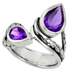 Clearance Sale- 3.98cts natural purple amethyst 925 sterling silver ring jewelry size 6.5 d37342