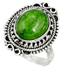 Clearance Sale- 925 silver 5.53cts natural green chrome diopside solitaire ring size 6.5 d37344