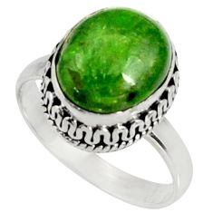 Clearance Sale- 5.16cts natural green chrome diopside 925 silver solitaire ring size 7.5 d37345