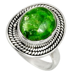 Clearance Sale- 5.52cts natural green chrome diopside 925 silver solitaire ring size 6.5 d37346