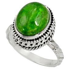 Clearance Sale- 925 silver 5.18cts natural green chrome diopside solitaire ring size 8 d37347