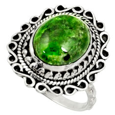 Clearance Sale- 5.33cts natural green chrome diopside 925 silver solitaire ring size 7 d37348