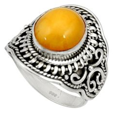 5.42cts natural yellow amber bone 925 silver solitaire ring size 7.5 d37350