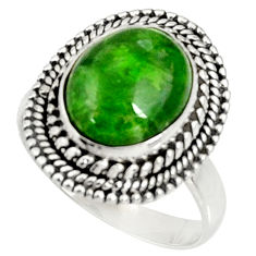 Clearance Sale- 5.37cts natural green chrome diopside 925 silver solitaire ring size 8 d37352