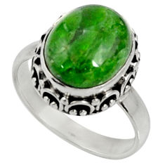 Clearance Sale- 5.11cts natural green chrome diopside 925 silver solitaire ring size 6.5 d37353