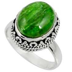 Clearance Sale- 925 silver 5.52cts natural green chrome diopside solitaire ring size 7 d37354