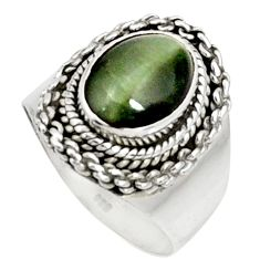 Clearance Sale- 4.22cts green cats eye 925 sterling silver solitaire ring jewelry size 7 d37355