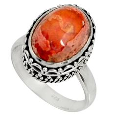 5.28cts natural orange mexican fire opal 925 silver solitaire ring size 7 d37359