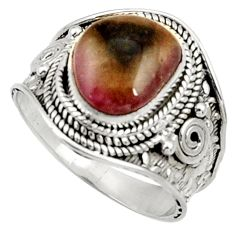Clearance Sale- 5.31cts natural pink bio tourmaline 925 silver solitaire ring size 8.5 d37441