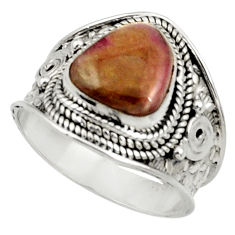 Clearance Sale- 5.52cts natural pink bio tourmaline 925 silver solitaire ring size 8.5 d37442
