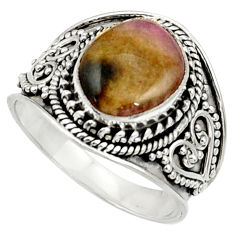 Clearance Sale- 5.31cts natural pink bio tourmaline 925 silver solitaire ring size 8.5 d37447