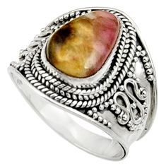 Clearance Sale- 5.53cts natural pink bio tourmaline 925 silver solitaire ring size 8.5 d37452