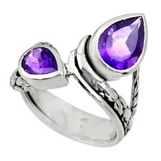 Clearance Sale- 4.21cts natural purple amethyst 925 sterling silver ring jewelry size 5.5 d37454