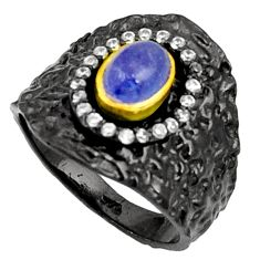 Clearance Sale- 2.11cts black rohdium blue tanzanite oval 925 silver 14k gold ring size 7 d37466