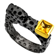 Clearance Sale- 1.15cts black rohdium natural yellow citrine silver 14k gold ring size 9 d37467