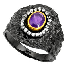 Clearance Sale- 2.41cts rohdium natural purple amethyst 925 silver 14k gold ring size 9 d37468
