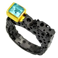 Clearance Sale- 1.12cts black rohdium natural blue topaz 925 silver 14k gold ring size 7 d37471