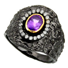 Clearance Sale- 2.69cts rohdium natural purple amethyst 925 silver 14k gold ring size 9 d37472