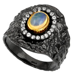 Clearance Sale- 2.17cts rohdium natural ethiopian opal 925 silver 14k gold ring size 7 d37479