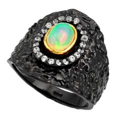 Clearance Sale- 925 silver 2.17cts rohdium natural ethiopian opal 14k gold ring size 7 d37480