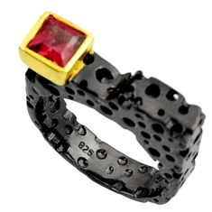 1.09cts black rhodium natural red garnet 925 silver 14k gold ring size 7 d37482