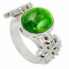 Clearance Sale- 925 silver 5.35cts natural green chrome diopside solitaire ring size 7 d37507
