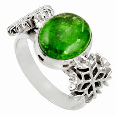 Clearance Sale- 4.92cts natural green chrome diopside 925 silver solitaire ring size 8.5 d37508