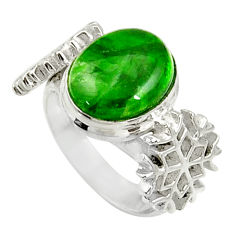 Clearance Sale- 4.91cts natural green chrome diopside 925 silver solitaire ring size 6.5 d37512
