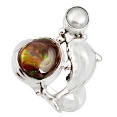 Clearance Sale- 925 silver 5.18cts natural mexican fire agate pearl dolphin ring size 7.5 d37513