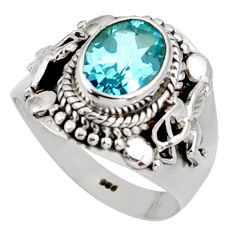 Clearance Sale- 3.28cts natural blue topaz 925 sterling silver solitaire ring size 7 d38781