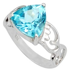 Clearance Sale- 5.84cts natural blue topaz 925 sterling silver solitaire ring size 7.5 d38782