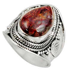 brown pietersite (african) silver solitaire ring size 7 d38783