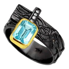 Clearance Sale- 925 silver 2.50cts rhodium natural blue topaz topaz solitaire ring size 7 d38791