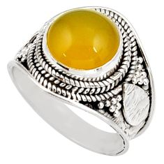 Clearance Sale- 4.94cts natural yellow olive opal 925 silver solitaire ring size 7 d38836