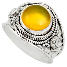 Clearance Sale- 5.11cts natural yellow olive opal 925 silver solitaire ring size 8.5 d38837