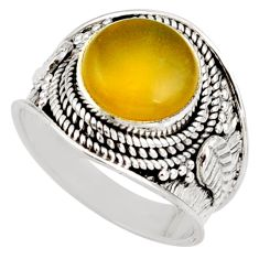 Clearance Sale- 925 silver 4.94cts natural yellow olive opal solitaire ring size 7.5 d38838