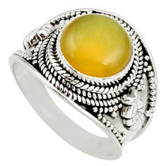 4.91cts natural yellow olive opal 925 silver solitaire ring size 8 d38839