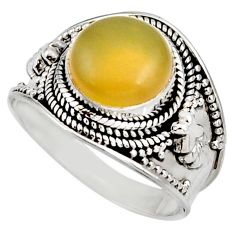 925 silver 5.13cts natural yellow olive opal solitaire ring size 9 d38840