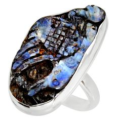 17.57cts natural boulder opal carving 925 silver solitaire ring size 10 d38845