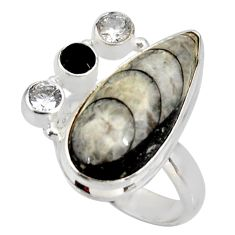 Clearance Sale- 17.42cts natural black orthoceras onyx 925 silver solitaire ring size 8 d38849
