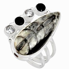 22.22cts natural black orthoceras onyx 925 silver solitaire ring size 7 d38852