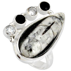 Clearance Sale- 18.89cts natural black orthoceras onyx 925 silver solitaire ring size 7.5 d38854