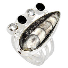 Clearance Sale- 925 silver 20.35cts natural black orthoceras onyx solitaire ring size 7 d38855