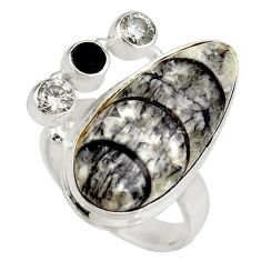 Clearance Sale- 18.46cts natural black orthoceras onyx 925 silver solitaire ring size 7.5 d38857