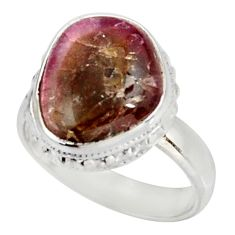 Clearance Sale- 6.26cts natural pink bio tourmaline 925 silver solitaire ring size 7 d38863
