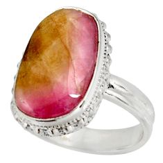 Clearance Sale- 11.66cts natural pink bio tourmaline 925 silver solitaire ring size 8 d38871