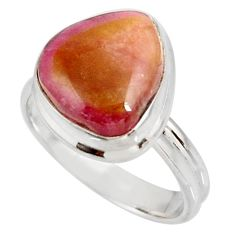 Clearance Sale- 925 silver 6.31cts natural pink bio tourmaline solitaire ring size 8.5 d38876