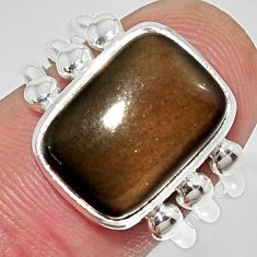 Clearance Sale- Natural american rainbow obsidian eye 925 silver solitaire ring size 7.5 d38879