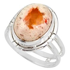 Clearance Sale- 6.84cts natural mexican fire opal 925 silver solitaire ring size 8.5 d38893